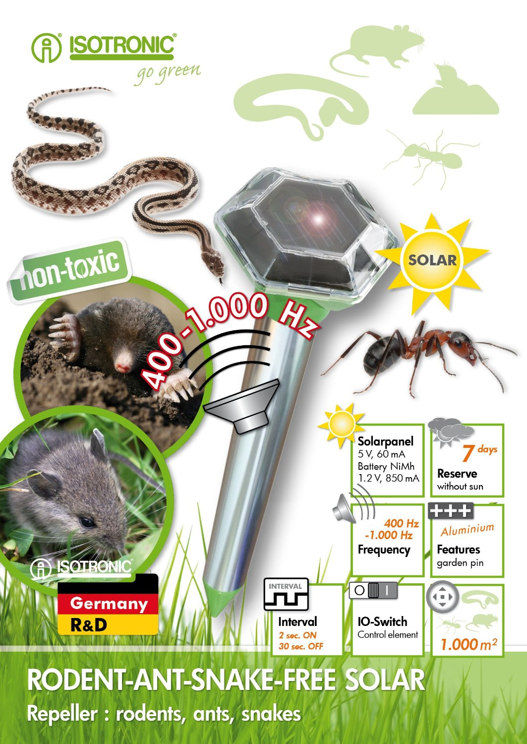 Isotronic Solar Snake Ant Mole Mouse Repeller